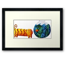 Cat and Goldfish Framed Print