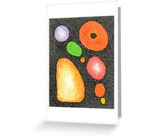 Primative Abstract Shapes, Black Background Greeting Card