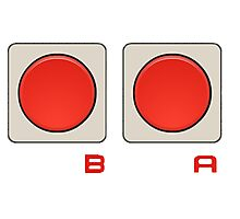 A B Buttons, NES controller pad. Photographic Print