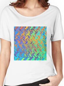 Color Pattern of Abstract Blue and Lilac Women's Relaxed Fit T-Shirt