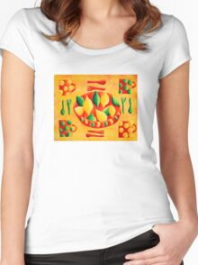 Lemons and Limes (Yellow) Women's Fitted Scoop T-Shirt