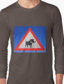 Warthog Warning Sign - Hogs About Long Sleeve T-Shirt