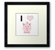 I Heart  (love) Cute Pigs Framed Print