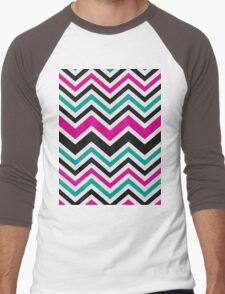 Retro Zig Zag Chevron Pattern Men's Baseball ¾ T-Shirt