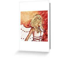 Valentine background with cupid 3 Greeting Card