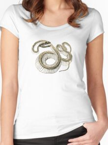 antique typographic vintage snake skeleton Women's Fitted Scoop T-Shirt