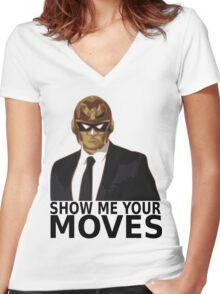 Captain Falcon in Formal Attire 2 Women's Fitted V-Neck T-Shirt