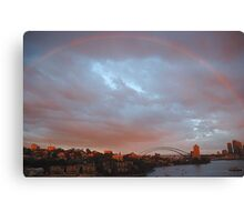 A Bit Of Help From  Above  - Sydney Harbour Rainbow Canvas Print