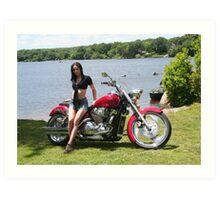 Girl with Honda Custom Cruiser Art Print