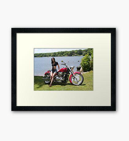 Girl with Honda Custom Cruiser Framed Print