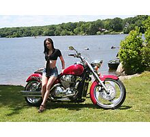 Girl with Honda Custom Cruiser Photographic Print