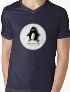 Penguin Losing a Home? Mens V-Neck T-Shirt