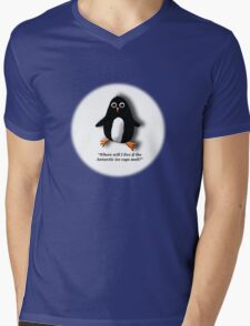 Penguin Losing a Home? Mens V-Neck T-Shirt