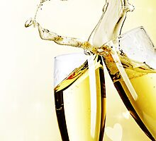 Champagne Glasses Love Heart by BevsandBecka