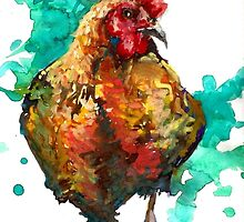 Hen, Black Star Hen, Hannah Tiffin by HannahTiffinArt