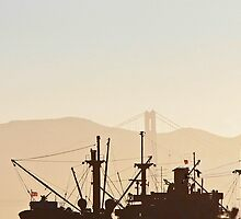 SS Jeremiah O' Brien War Ship Silhouette with Golden Gate Bridge by 31images
