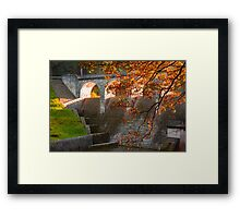 late Autumn sun streaming through the Dam Framed Print