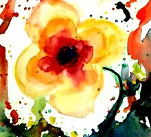 Orange Poppy Flower, Watercolor HannahTiffin by HannahTiffinArt