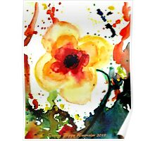 Orange Poppy Flower, Watercolor HannahTiffin Poster