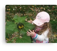 Hannah and her sunflower Canvas Print