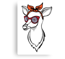 Deer girl with sunglass. Fashion stag. Canvas Print