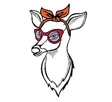 Deer girl with sunglass. Fashion stag. Photographic Print