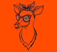Deer girl with sunglass. Fashion stag. Kids Clothes