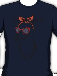 Deer girl with sunglass. Fashion stag. T-Shirt