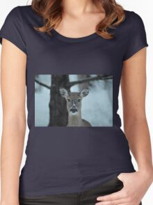 Winter deer in the snow and frost. Women's Fitted Scoop T-Shirt