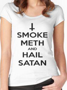 Smoke Meth & Hail Satan Women's Fitted Scoop T-Shirt