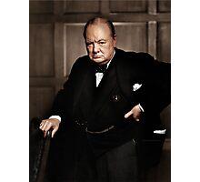 Winston Chruchill Fabulous Color Portrait WW2 Battle of Britain Photographic Print