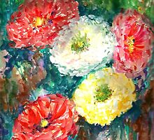 Zinnia Garden by Hannah Tiffin by HannahTiffinArt