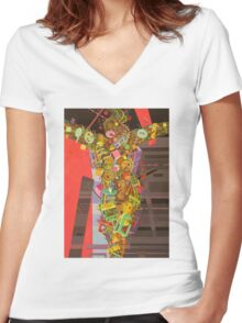 """Crucifixion"" 2 Women's Fitted V-Neck T-Shirt"