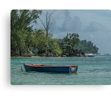Seychelles Simple Rowing Boat Exotic Location Canvas Print