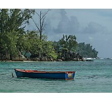 Seychelles Simple Rowing Boat Exotic Location Photographic Print