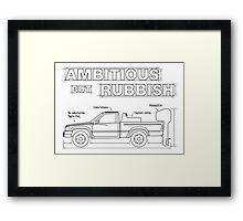 Ambitious but Rubbish Toybota blueprints  Framed Print