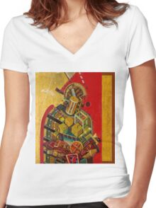 """""""Byzantine Construction"""" 2 Women's Fitted V-Neck T-Shirt"""