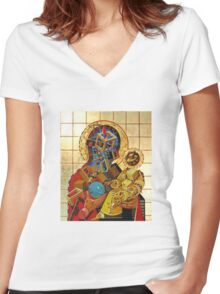 """Byzantine Construction"" 3 Women's Fitted V-Neck T-Shirt"