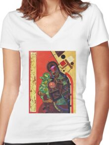 """Byzantine Construction"" 5 Women's Fitted V-Neck T-Shirt"