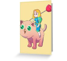 cat and girl Greeting Card