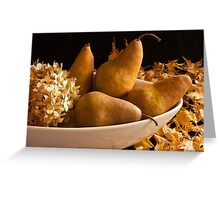 Pears And Hydrangea - Still Life  Greeting Card
