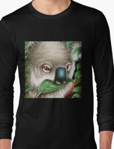 Cute Koala Munching a Leaf Long Sleeve T-Shirt