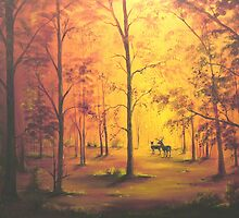 Deer in Autumn by William  Boyer
