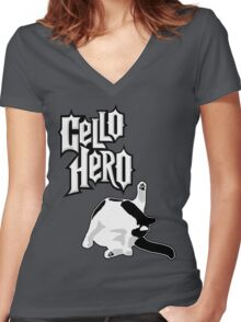Cello Hero: Cat Edition Women's Fitted V-Neck T-Shirt