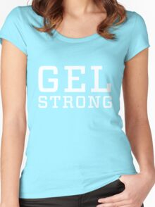 Gel Strong - White Text Women's Fitted Scoop T-Shirt