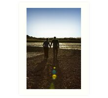 Hand In Hand - Romantic Photo Print - Couple walking into sunset Art Print