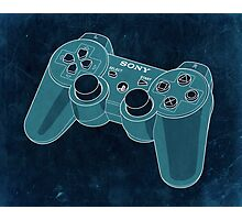 Distressed Playstation Controller in Cyan Photographic Print