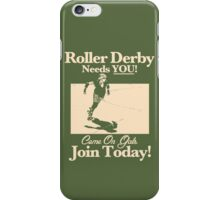 Roller Girl Recruitment Poster (Retro Green) iPhone Case/Skin