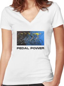 Pedal Power Women's Fitted V-Neck T-Shirt