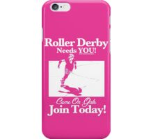 Roller Girl Recruitment Poster (Hot Pink) iPhone Case/Skin